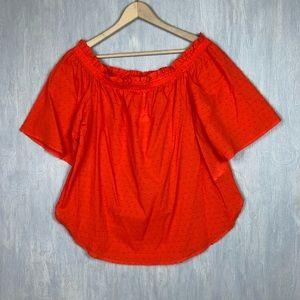 NWT H&M swiss dot off the shoulder top orange 12
